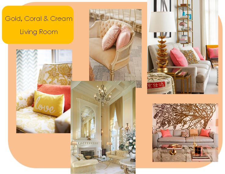 Gold coral cream living room home decor ideas gypsy soul for Living room ideas gold