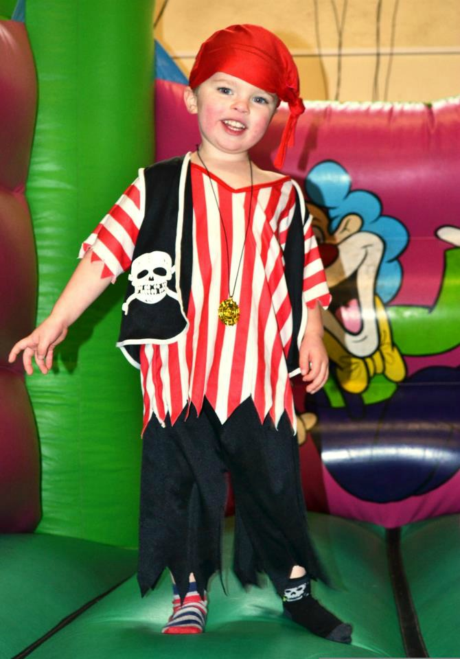 Thrifty pirate party outfit found in a charity shop