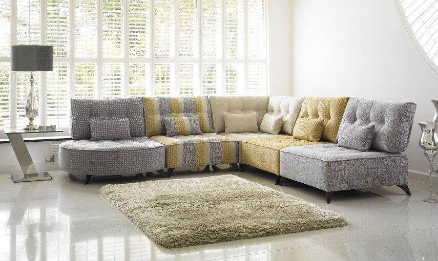 Grey and Yellow Corner Sofa by Fishpools