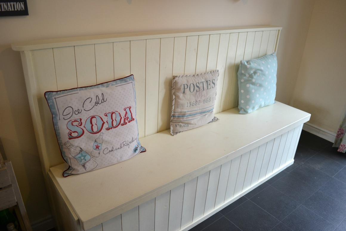 Homemade vintage kitchen bench in cream