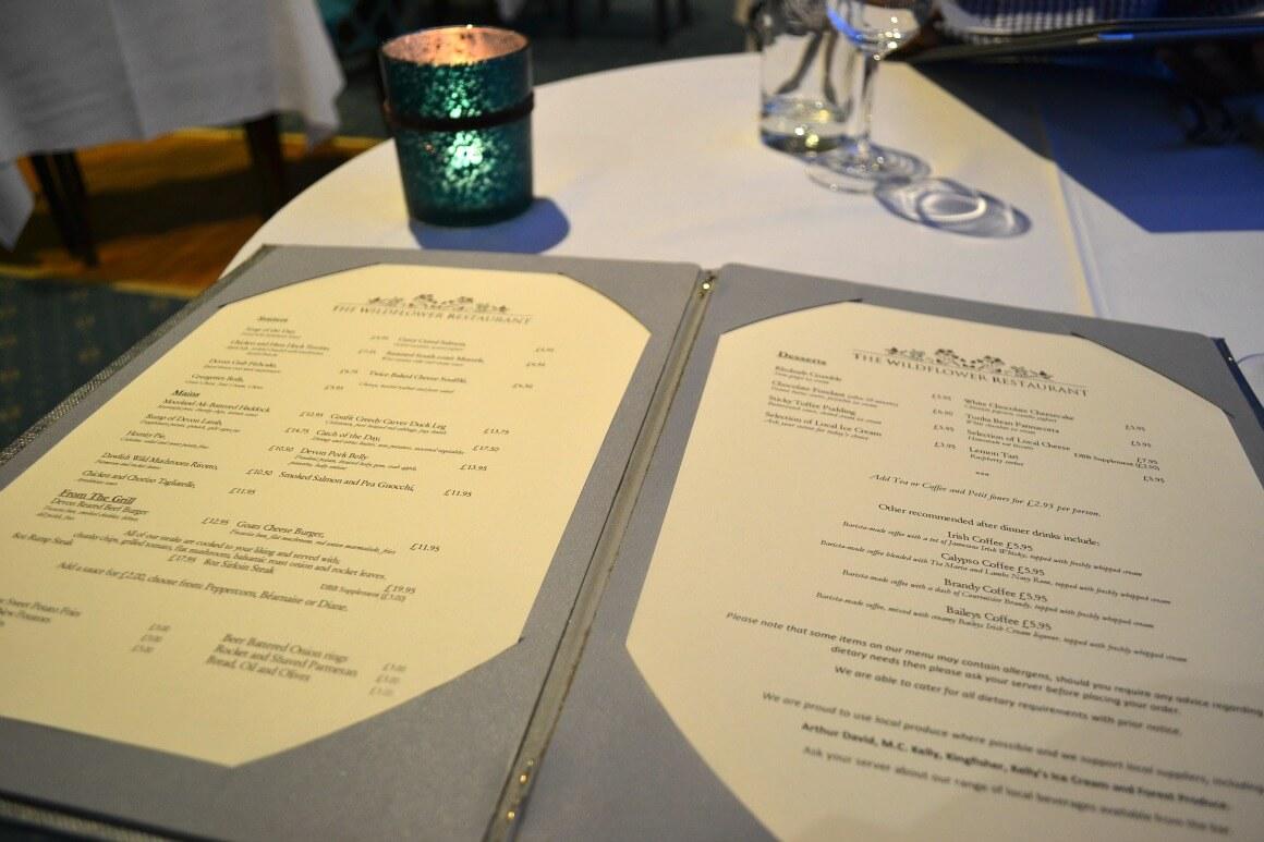The \moorland Garden Hotel menu