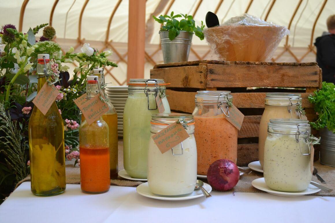 homemade condiments posh nosh yurt wedding