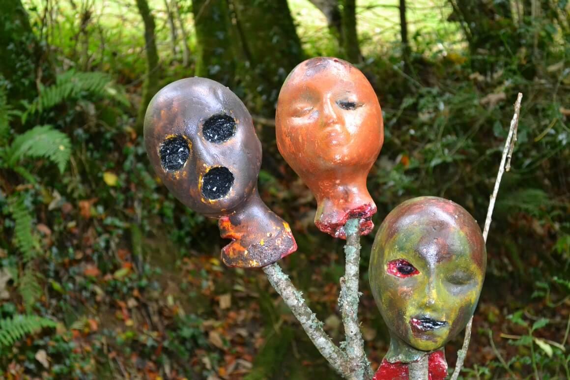 Sppoky heads on halloween trail in devon