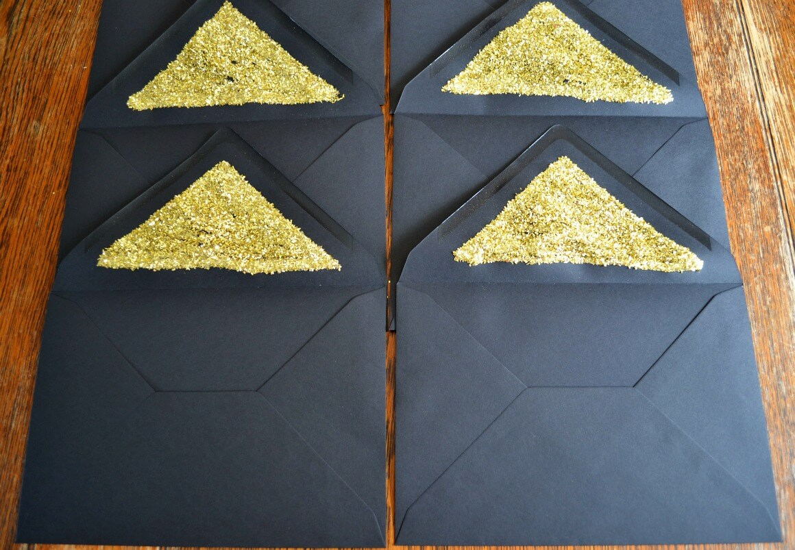 Homemade gold gatsby party invites