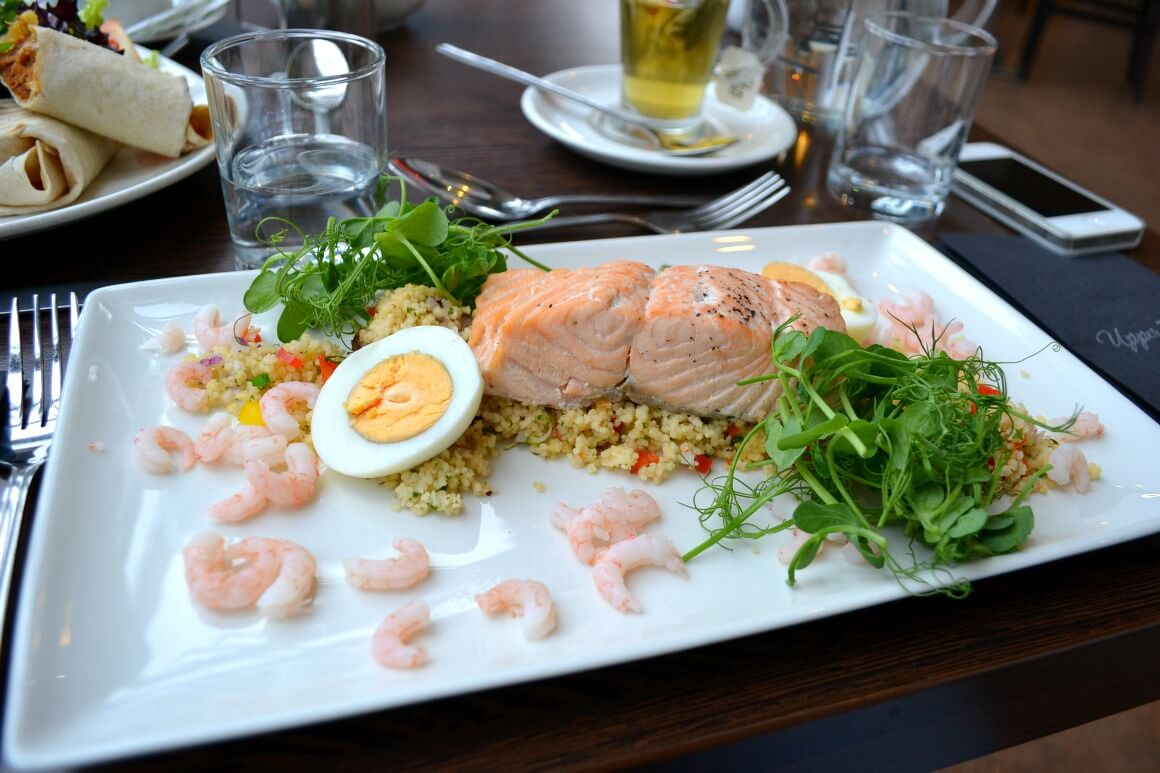 Salmon salad at the Upperdeck restaurant in Saltash