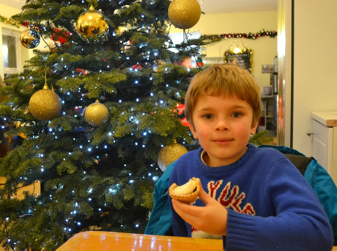 Eatign mince pies at Pennywell Farm