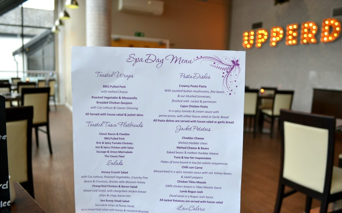 The spa day menu at China Fleet Country Club in Saltash