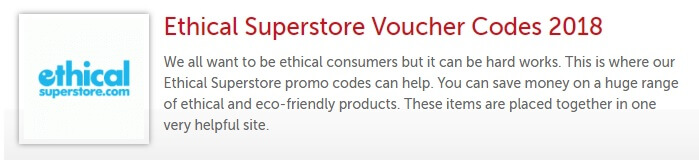 Ethical Superstore discount voucher codes