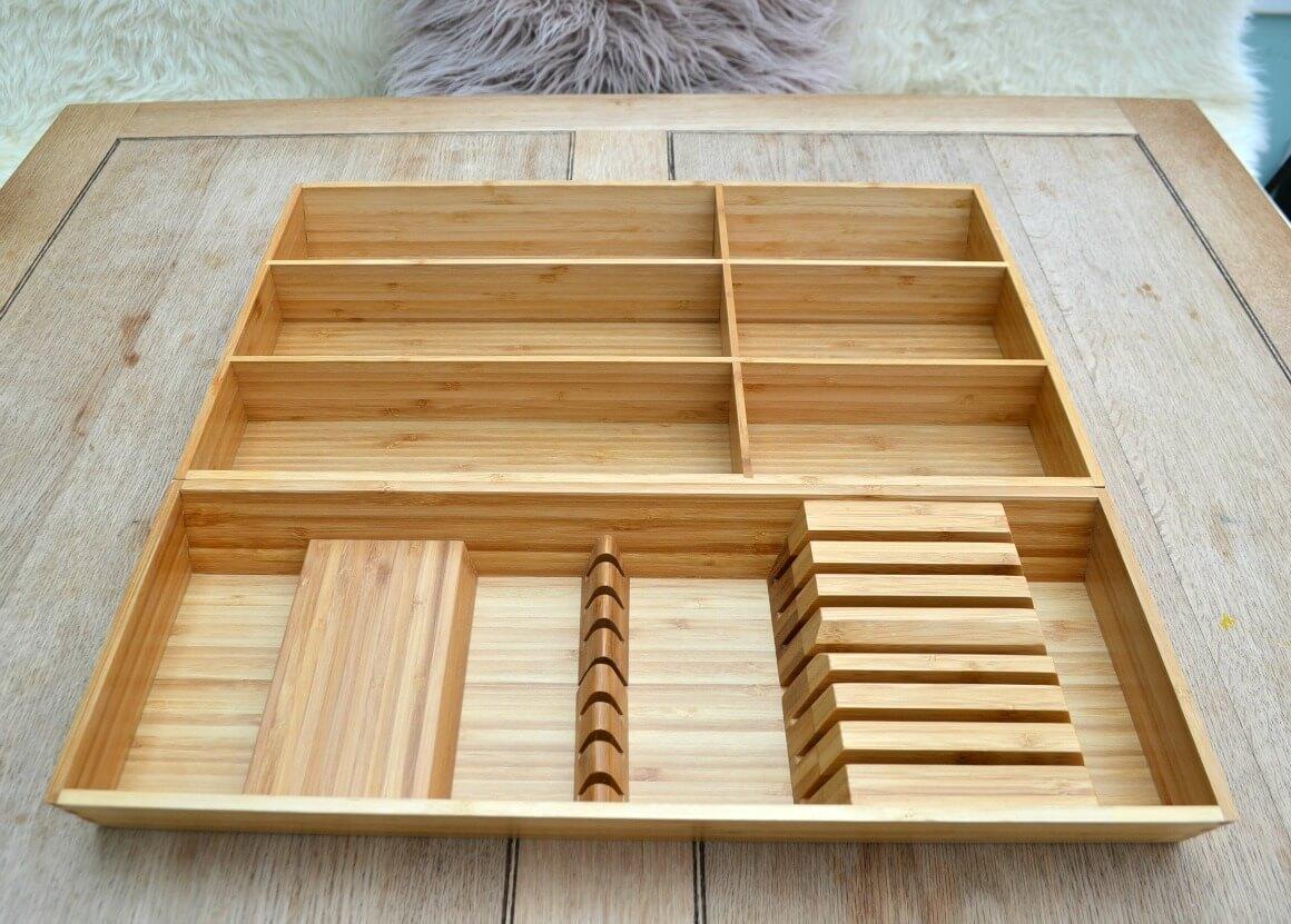 Bamboo cutlery organiser