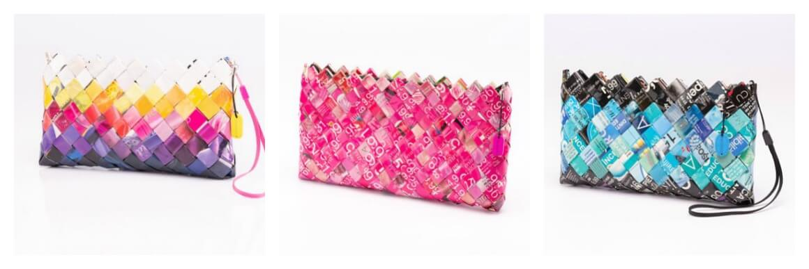 Upcycled clutch bags