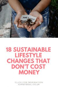 Click the image to read these 18 sustainable lifestyle changes that don't cost money #sustainablelifestyle #ecoliving #savemoney #thriftyliving