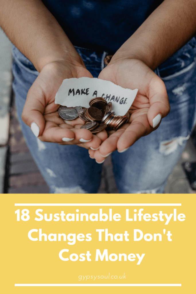 Do you want to start making some sustainable changes to your lifestyle but don't know where to start? Check out these 18 sustainable lifestyle changes that don't cost money #sustainablelifestyle #greenliving #savemoney