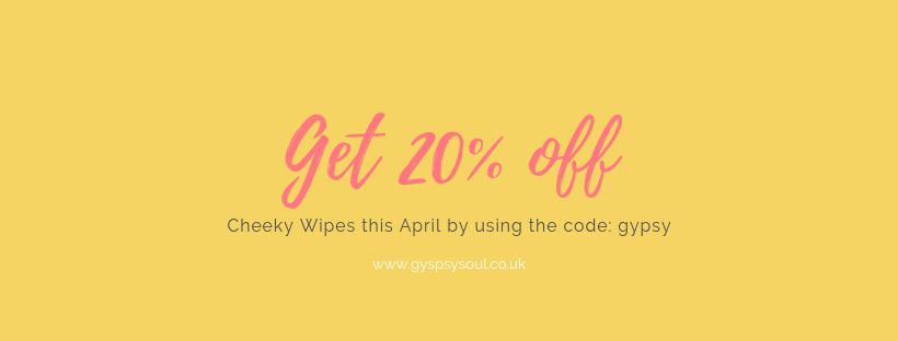 Get 20% off Cheeky Wipes this April Discount code