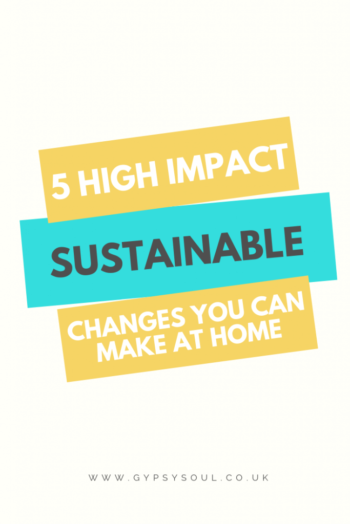 5 high impact sustainable changes that you can make in your own home #sustainableliving #ecoliving #bethechange