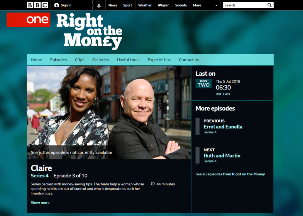 BBC One Right On The Money Gina Caro